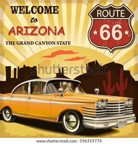 welcome to arizona retro poster.