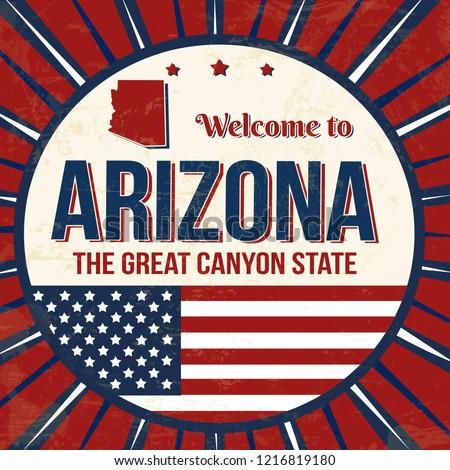 Welcome to Arizona vintage grunge poster, vector illustrator