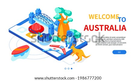 Welcome to Australia - colorful isometric web banner with copy space for text. Australian culture, traditions. Kangaroo, koala, boomerang, Sydney Harbour Bridge, boab, surfboard on smartphone screen Zdjęcia stock ©