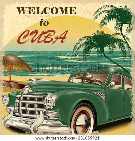 welcome to cuba retro poster