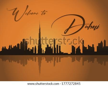 welcome to Dubai sunset Burj Khalifa tower skyline united arab emirates vector illustration design for post card touristic  print souvenir