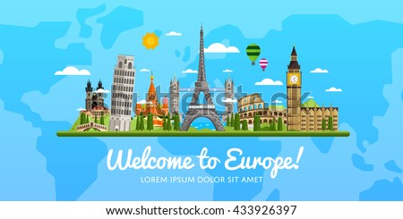 Welcome to Europe travel on the world concept traveling flat vector illustration. Worldwide traveling.