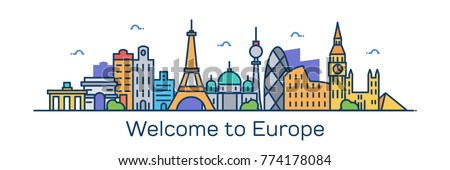 Welcome to Europe. Vector Illustration