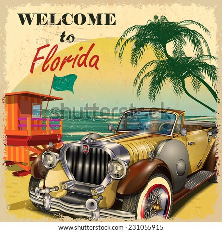 welcome to florida retro poster