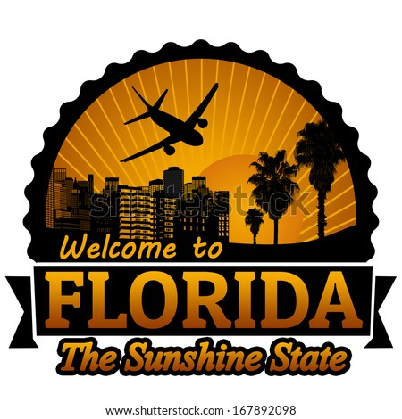 welcome to florida travel label