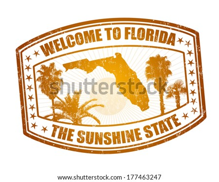 Welcome to Florida travel stamp on white vector illustration