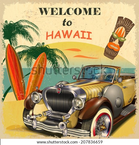 welcome to hawaii retro poster