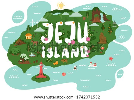 Welcome to Jeju island. Jeju tourist attractions such as hallim park, tourism diving, udo island lighthouse park, dolharubang, thatched house, dive tour. Jeju island in South Korea. Vector flat