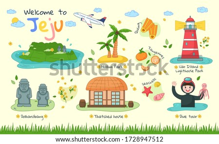 Welcome to Jeju. Set of Jeju tourist attractions such as hallim park, tourism diving, udo island lighthouse park, dolharubang, thatched house, dive tour. Jeju island in South Korea. Vector flat