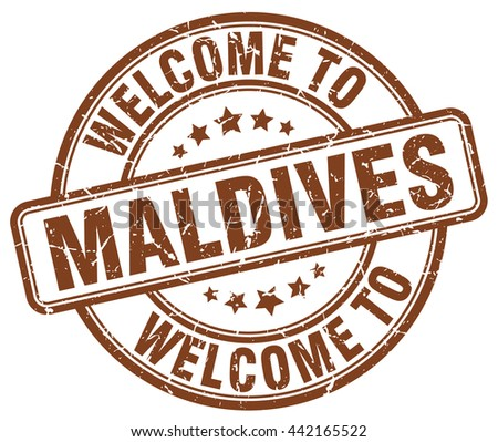 welcome to maldives stamp