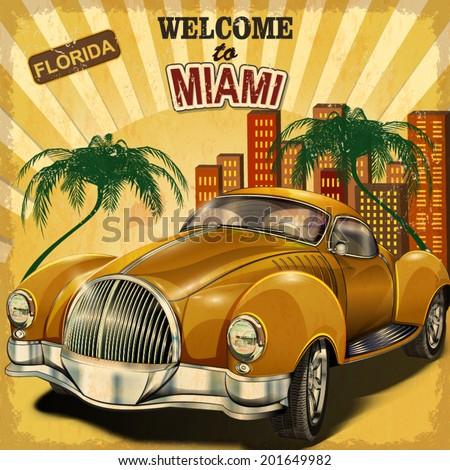 welcome to miami retro poster