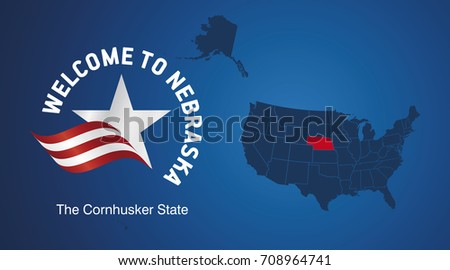 Welcome to Nebraska USA map banner logo icon