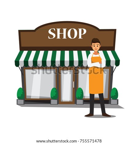 Welcome to our shop , vector cartoon design restaurants and shop