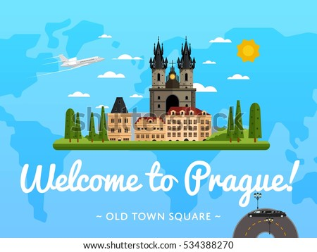 welcome to prague travel poster