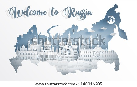 Welcome to Russia with map concept and Russian famous landmarks in paper cut style vector illustration. Travel poster, postcard and advertising design.