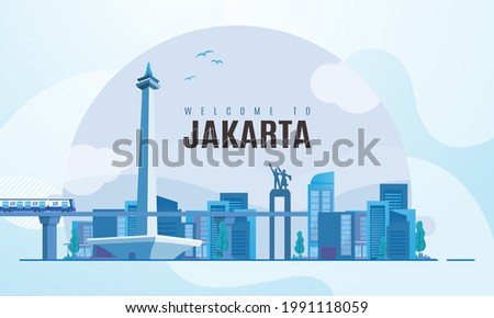 Welcome to the city of Jakarta Indonesia with a city space background illustration