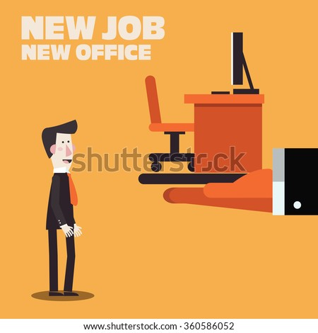 Welcome to the new job vector business concept. Boss offering a new office to employee. Successful smiling young man in the office for new job. Start and time for a new job illustration