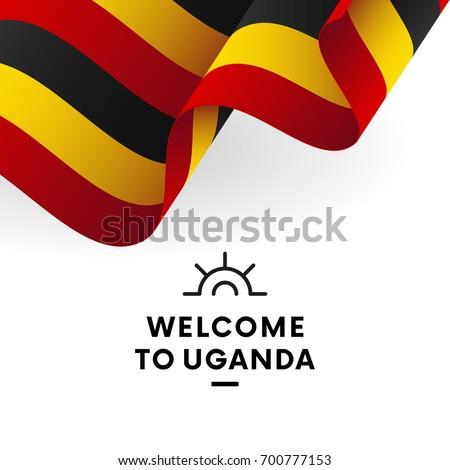 Shutterstock Welcome to Uganda. Uganda flag. Patriotic design. Vector illustration.