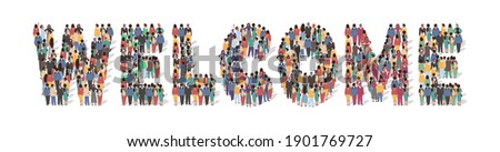 Welcome typography banner. Large group of people standing together in the shape of Welcome word, flat vector illustration. People crowd gathering. New team member greeting concept. Photo stock ©