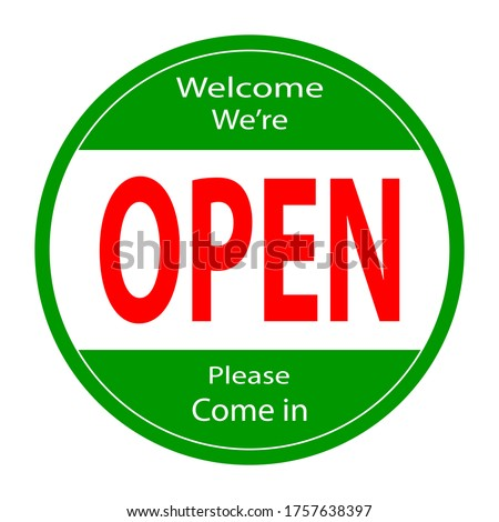 Welcome we're open vector text vintage. we're open. we are open again. re-opening. please come in. we're open again. grand-reopening. grand opening.sticker, banner,label