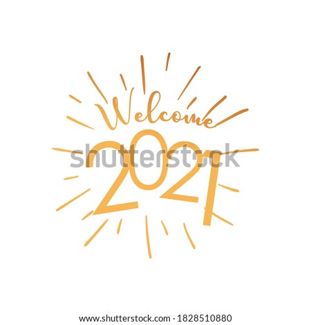 Welcome 2021 with lines gold gradient style icon design, Happy new year welcome celebrate and greeting theme Vector illustration