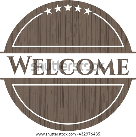 Welcome wood icon or emblem