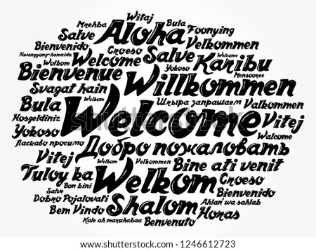 WELCOME word cloud in different languages, concept background