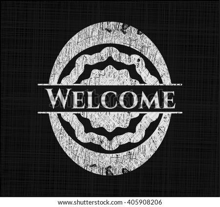 Welcome written on a blackboard