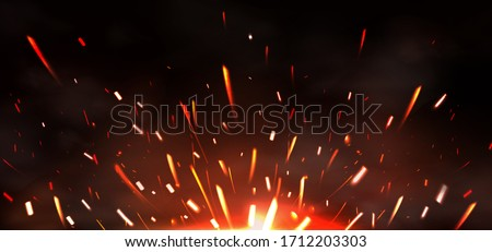 Weld sparks isolated on black background. Vector realistic flare effect of metal welding or blacksmith works. Flying glowing particles and smoke of industrial works with steel or burning fire Photo stock ©