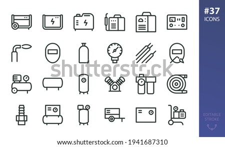 Welding Equipment and Air Compressors isolated icons set. Set of diesel generator, welding machine, car charger starter, welding mask, air compressor and receiver, airless paint sprayer vector icon Photo stock ©