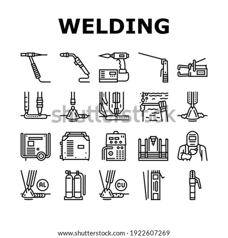 Welding Machine Tool Collection Icons Set Vector. Welding Equipment And Electrodes, Manual Arc And Plasma, Electroslag And Spot Black Contour Illustrations Photo stock ©