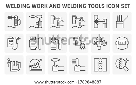 Welding work and welding tool to joint metal workpiece by using electricity, Welder fusing metal material together, Arc welding process to used join metal to metal by using electricity , Vector icon.