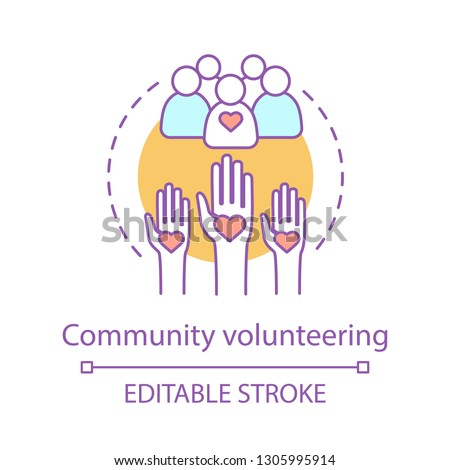 Welfare volunteering concept icon. Charitable corporate foundation. Social responsibility. Thin line illustration. Non profit organization. Community service. Vector outline drawing. Editable stroke