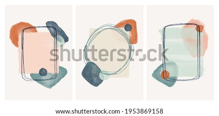 well art boho style. vector illustration hand drawn. african Abstract design with doodles and various shapes. modern art isolated vector graphic. minimalistic geometric frames hand painted