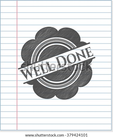 Well Done pencil strokes emblem