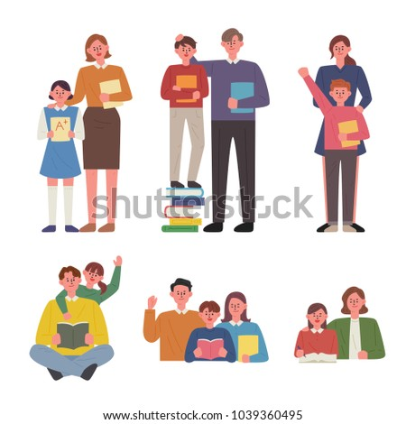 Well-studied children and praise parents. hand drawing style vector illustration flat design
