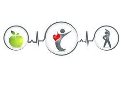 Wellness and healthy heart symbol. Healthy food and fitness leads to healthy heart and life. Isolated on a white background.