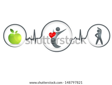 Wellness and healthy heart symbol. Healthy food and fitness leads to healthy heart and life. Isolated on a white background. - stock vector