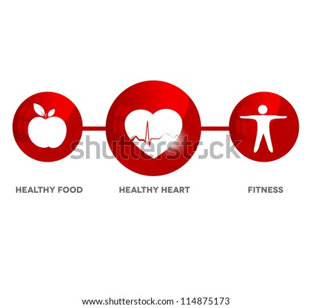 Wellness and medical symbol. Illustration symbolizes healthy food and fitness leads to healthy heart and healthy life.