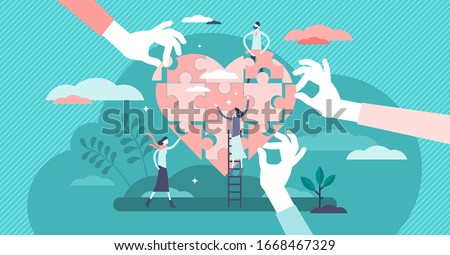 Wellness concept. flat tiny person vector illustration. Health care team working together in unity and managing abstract heart puzzle jigsaw symbol. Group of persons in social benefit activity.