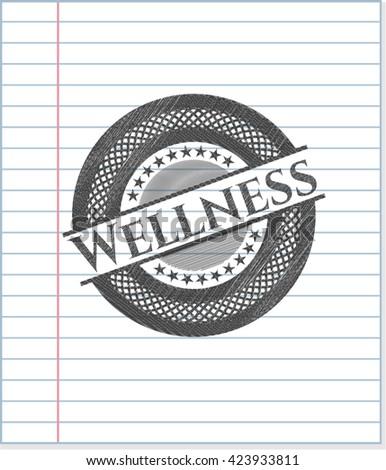 Wellness emblem draw with pencil effect