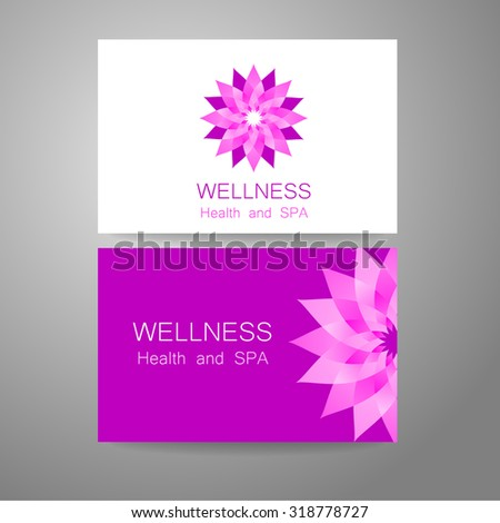 Wellness logo. Template design corporate identity for yoga studios, recreation center, organic food store, natural cosmetics manufacturer, beauty salon, spa and others.