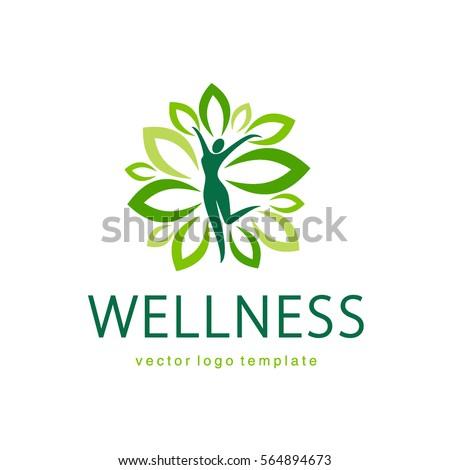 Wellness vector logo design template.