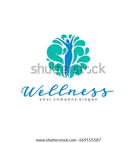 Wellness vector logo design. Women's beauty and health
