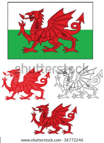 Welsh Flag with dragon variations