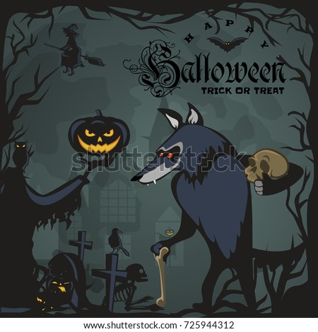 werewolf holding skull on