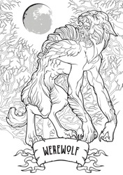 Werewolf in a forest. A legendary monster from european folklore tales. Black linear drawing isolated on a white background. Coloring book or tattoo design. EPS10 vector illustration.
