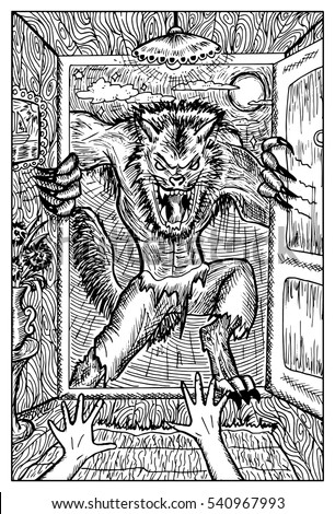 Stock Photo Werewolf or wolfman against full moon. Fantasy magic creatures collection. Hand drawn vector illustration. Engraved line art drawing, graphic mythical doodle. Template for card game, poster