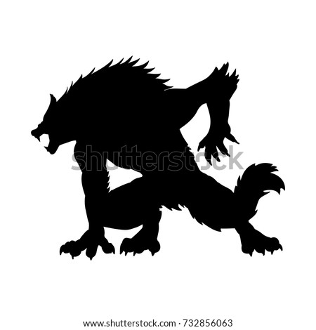Werewolf silhouette ancient mythology fantasy. Vector illustration.