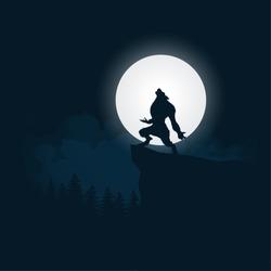 Werewolf silhouette halloween night background moonlight vector illustration.